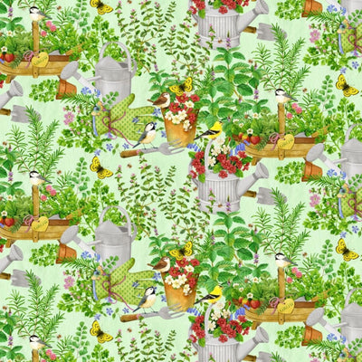 From the Garden Gardening Tools Flower Pots Wilmington Prints #7724 - Quilting & Sewing Fabric