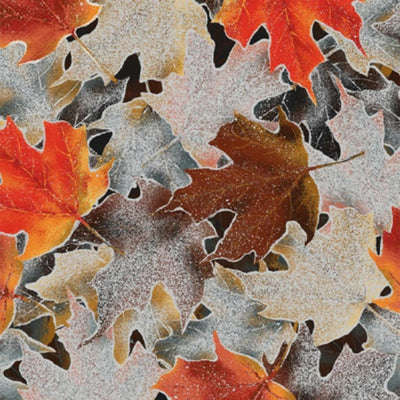 Frosted Fall Packed Leaves Rust Hoffman Fabrics #7048 - Quilting & Sewing Fabric