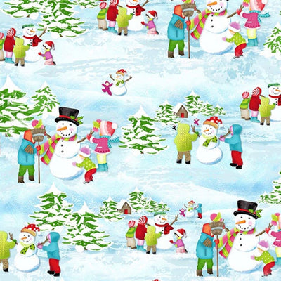 Frosty Flakes Snowman Scenic Christmas / Holiday Henry Glass #4751 - Quilting & Sewing Fabric