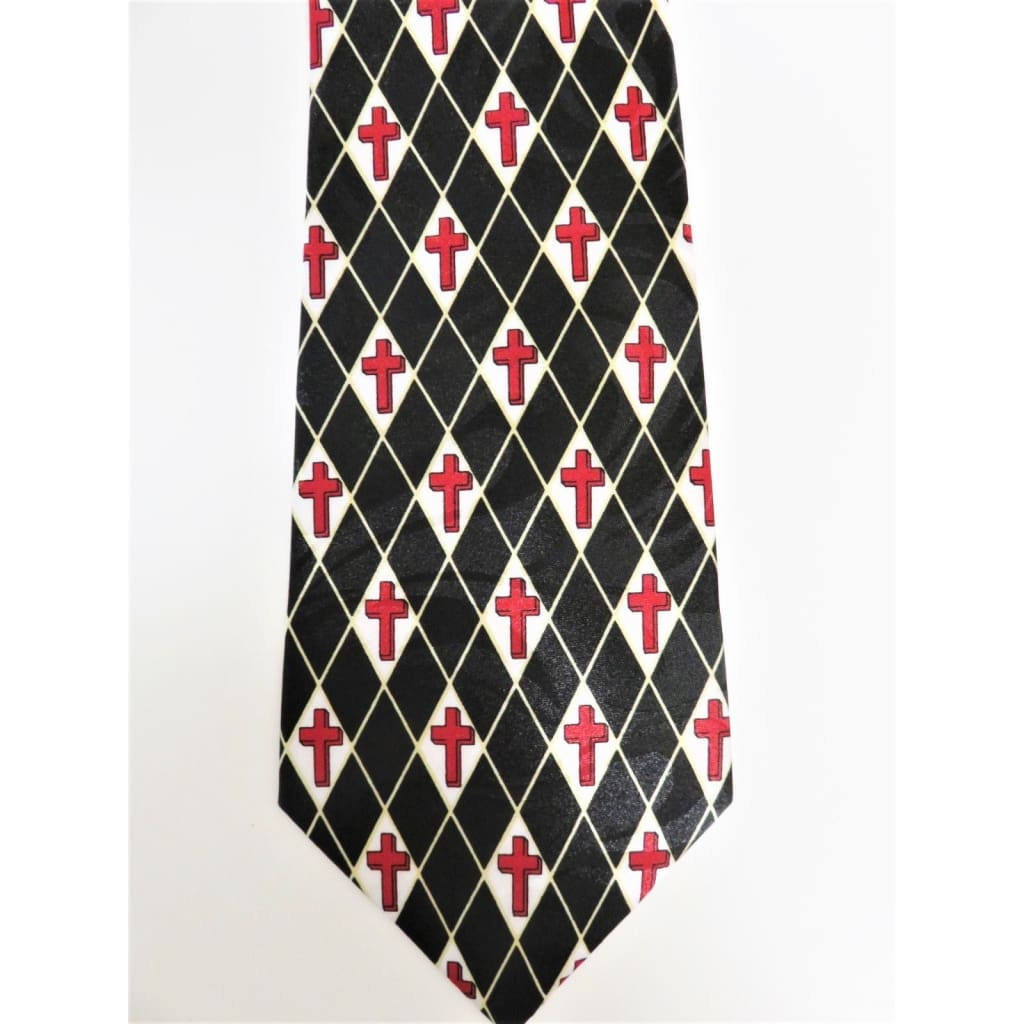 Gospitality Religious Mens Neckties Crosses in Diamonds Black Polyester #5481 - Apparel