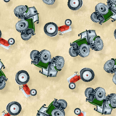 Green Mountain Farm Tossed Tractors Cream Wilmington Prints #7678 - Quilting & Sewing Fabric