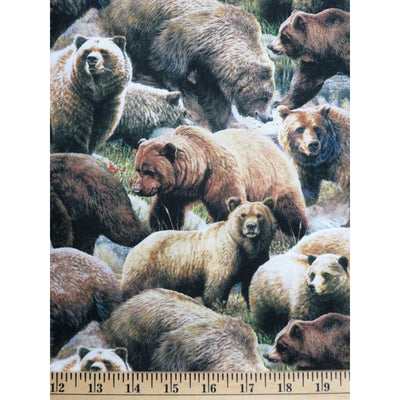 Grizzly Bear Friends Wildlife Animals Digital Print Four Seasons #5719 - Quilting & Sewing Fabric