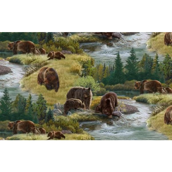 Grizzly Bears North American Wildlife Scenic Brown Elizabeths Studio #6959 - Quilting & Sewing Fabric