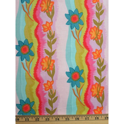 Happy Go Lucky Polly Poppitt Stripe Floral Free Spirit #762 - Quilting & Sewing Fabric