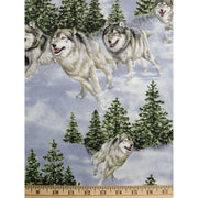 Hautman Wolf Pack Scenic Wolves Wildlife Pine trees Fabric #2405 - Quilting & Sewing Fabric