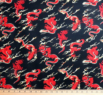 Headgear Dragons & Fire Flames Black Fabri-Quilt Fabric #4251 - Quilting & Sewing Fabric