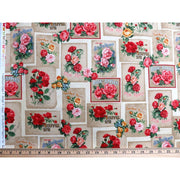 Heirloom Diary Antique Roses in Blocks w/ Words Robert Kaufman #6271 - Quilting & Sewing Fabric