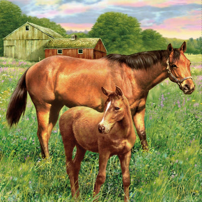 Hold your Horses Mare And Foal Digital Panel Penny Rose Fabrics #7206 - Quilting & Sewing Fabric