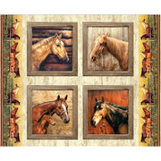 Horses Pillow Digital 36 Panel Penny Rose Fabrics #7210 - Quilting & Sewing Fabric