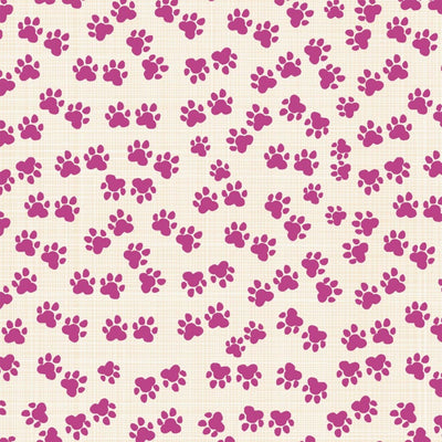Hotdogs & Cool Cats Paws Fuchsia Organic Windham Fabrics #6632 - Quilting & Sewing Fabric