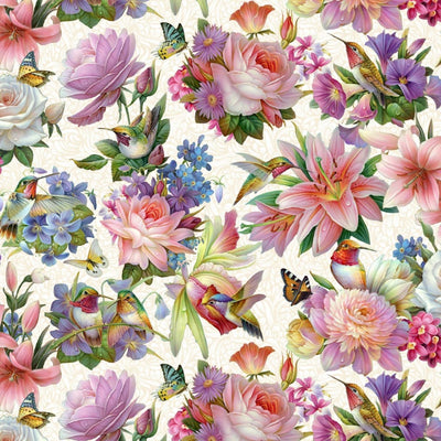 Hummingbirds Bouquet Mixed Floral Cream Elizabeths Studio #7761 - Quilting & Sewing Fabric