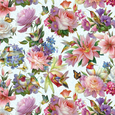 Hummingbirds Bouquet Mixed Floral Sky Blue Elizabeths Studio #7762 - Quilting & Sewing Fabric