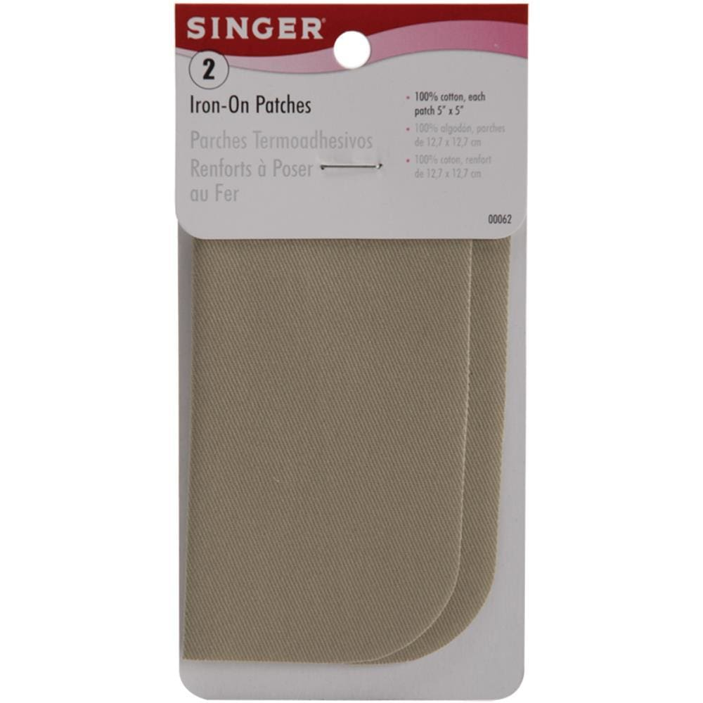 Iron-On Patches 5X5 2/Pkg Khaki Twill #6147 - Sewing Notions