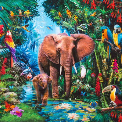 Jungle Elephant Panel Digitally Printed Robert Kaufman #7155 - Quilting & Sewing Fabric