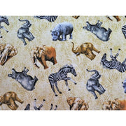 Jungle Party Elephant Zebra & Hippo Animal Skin Fabri-Quilt #4078 - Quilting & Sewing Fabric