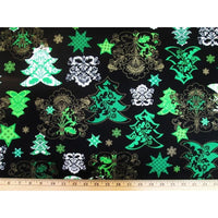 Kanvas Deck the Halls Christmas / Holiday Trees Metallic #3376 - Quilting & Sewing Fabric