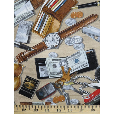 Kanvas Man Cave Pocket Change Money Cell Phone Benartex #1506 - Quilting & Sewing Fabric
