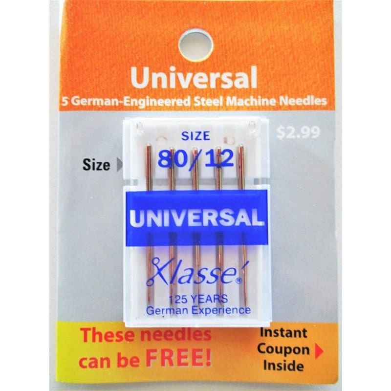 Klasse Carded Universal Sewing Machine Needles Size 80/12 5ct #4428V - Sewing Notions