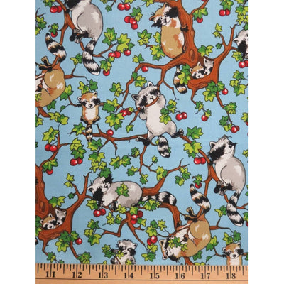 Krazy Kritters Wildlife Raccoons Climbing an Apple Tree Blue #6381 - Quilting & Sewing Fabric