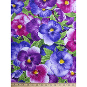 Large Packed Pansies Viola Pansy Floral Timeless Treasures #6924 - Quilting & Sewing Fabric