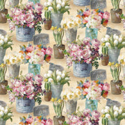 Le Cafe Mixed Floral in Flower Pots Wilmington Prints #7176 - Quilting & Sewing Fabric