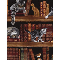 Library Cats & Kittens w/ Study Books Timeless Treasures #7775 - Quilting & Sewing Fabric