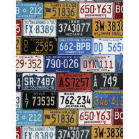 License Plates Multi States Road Timeless Treasures Fabric #5271 - Quilting & Sewing Fabric