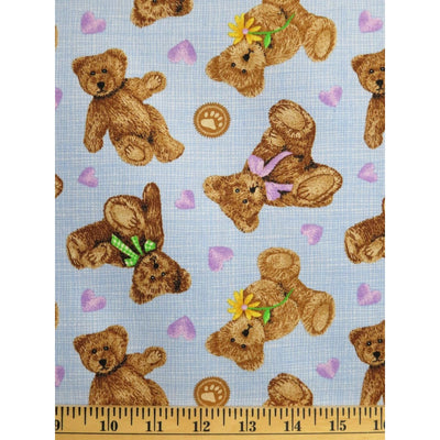 Licensed Boyds Bears Hearts & Daisies Blue Four Seasons Spectrix Fabric #1773 - Quilting & Sewing Fabric