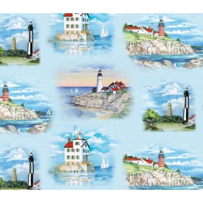 Lighthouses Allover Blue Nautical Scenic Elizabeths Studio Fabric #2192 - Quilting & Sewing Fabric