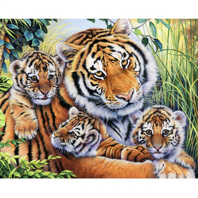 Lilys Pride Tiger & Baby Cubs 35 Panel Digitally Printed David Textiles #7916 - Quilting & Sewing Fabric