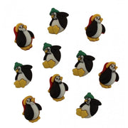 Little Penguins Holiday Romance Plastic Embellishment Buttons #4482 - Sewing Notions