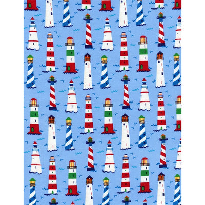 Mini Lighthouses Blue Timeless Treasures Fabric #2504 - Quilting & Sewing Fabric