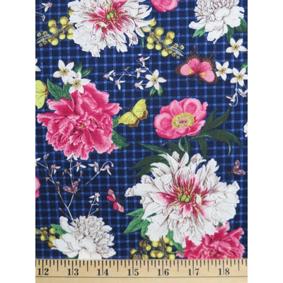 Modern Scrapbook Indigo Blue Peonie Floral Check Hoffman Fabrics #2393 - Quilting & Sewing Fabric