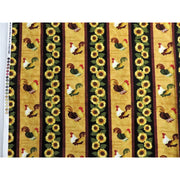 Morning Call Sunflowers & Chickens Floral Stripe Henry Glass #2084 - Quilting & Sewing Fabric