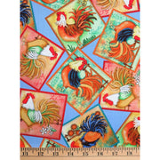 Morning Wake Up Roosters Farm Animals Patch Quilting Treasures Fabric #1259 - Quilting & Sewing Fabric