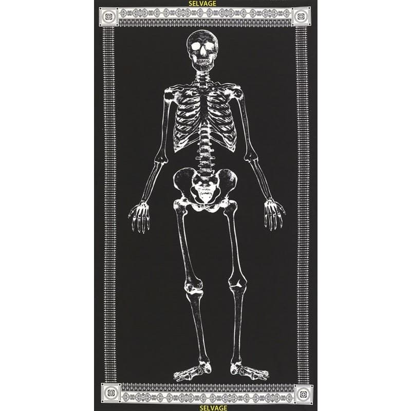 Mr. Bones Full Body Glow in the Dark Skeleton 24 Panel Timeless Treasures #4013 - Quilting & Sewing Fabric