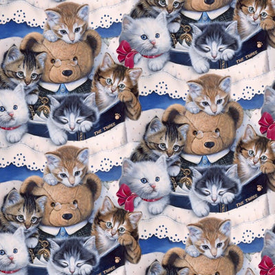 Multi Kittens & Teddy Bear Digitally Printed David Textiles #7124 - Quilting & Sewing Fabric