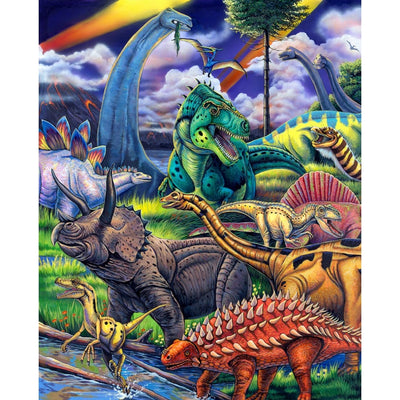 Multi The Dinosaur Digital Panel 34.5in x 44in Four Seasons #7053 - Quilting & Sewing Fabric