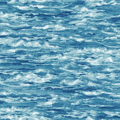 Natural Elements Aqua Ocean Waves Water Fresh Water Designs #2536 - Quilting & Sewing Fabric