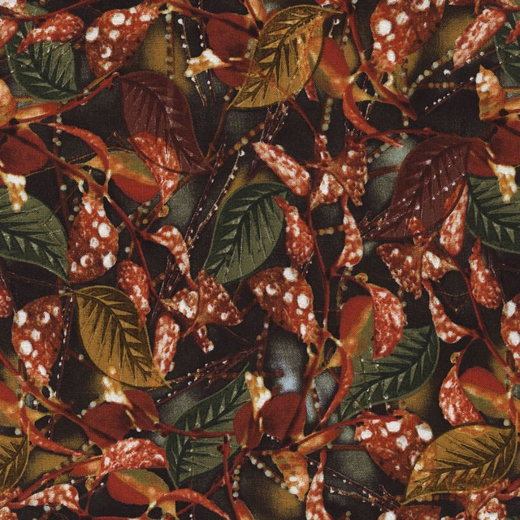 Nature Outdoors Leaf / Leaves with Raindrops Timeless Treasures Fabric #4718 - Quilting & Sewing Fabric