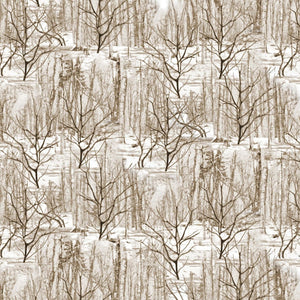 Nature Outdoors Natural Trees Winter Forest Benartex #4706 - Quilting & Sewing Fabric