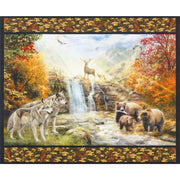 Nature Scenic Digital Print 35 Panel Wildlife Double Border Robert Kaufman #7000 - Quilting & Sewing Fabric