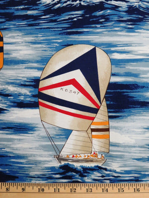 Navy Sailboats Sports Fisherman on Boats Hoffman Fabrics #2403 - Quilting & Sewing Fabric