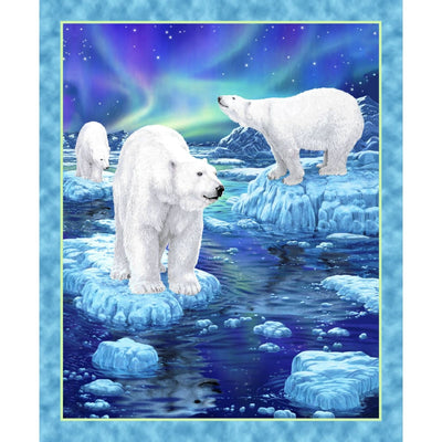 Northern Lights Polar Bears Scenic Quilt / Wall Panel Quilting Treasures #6652 - Quilting & Sewing Fabric