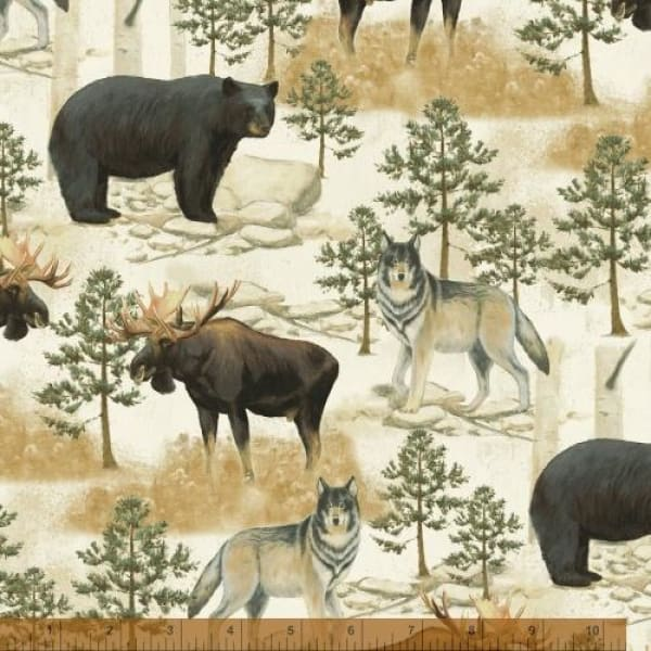 Northwoods Wildlife Forest Animals Bears Elk & Wolves Windham Fabrics #6329 - Quilting & Sewing Fabric