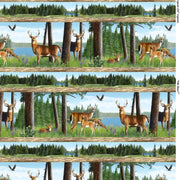 Oh Deer! Buck & Doe Repeating Stripe Scenic Wilmington Prints #7679 - Quilting & Sewing Fabric