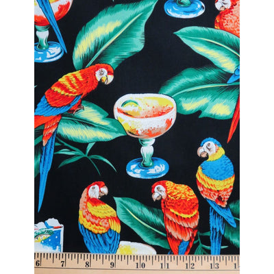 Parrots & Margaritas Black Tropical Birds Hoffman Fabrics #2401 - Quilting & Sewing Fabric