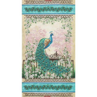 Peacock Jewel of the Garden 23 Panel Timeless Treasures #3346 - Quilting & Sewing Fabric