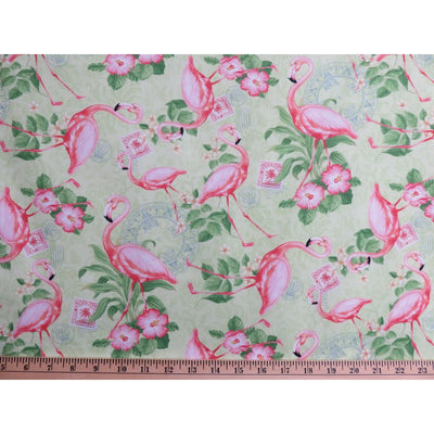Pink Flamingo Stamps & Floral Neptunes Garden Wilmington Prints #2570 - Quilting & Sewing Fabric