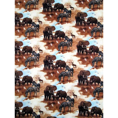 Plains of Africa Jungle Animals Elephants & Zebra Scenic Spectrix Fabric #1355 - Quilting & Sewing Fabric